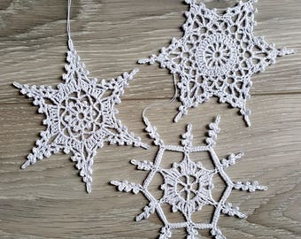 Set of 3 Large Crochet Snowflakes