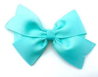 Aqua hair bow - aqua bow, 4 inch hair bow, pinwheel bows, girls hair bows, girls bows, toddler bows, hair clips, blue hair bows, hair bows