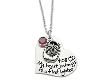 Personalized My Heart Belongs To a Firefighter - Engraved Steel Heart Necklace - Fireman - Firefighter Necklace - Anniversary - 1106