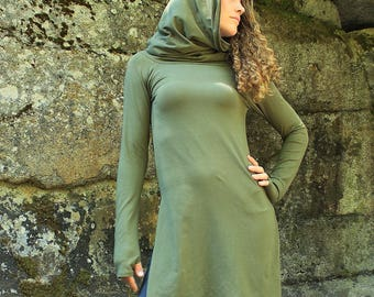 Giraffe Tunic-Women's long sleeve-longsleeve with thumbholes-cowl neck-cotton tunic-tunic with slits-tunic top-sexy clothes-warm clothes