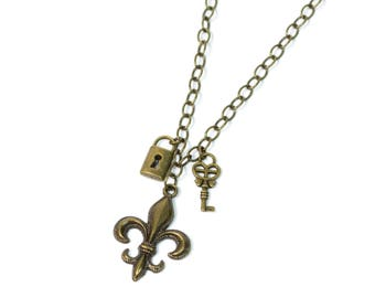 Fleur-de-lis Lock and Key Necklace
