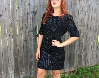 "Black Sequin ""Don't Diss Dress"" Sparkly 1980s Dress // 80s Short Sequin Dress"