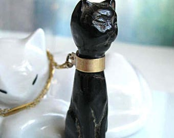 Black Cat Pendant, Bastet Egyptian Goddess, Carved Wood Teak Ebony, Gold Collar Band and Chain, Exotic Feline Amulet Necklace