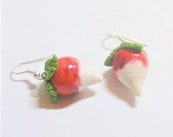Food Jewelry Radish Earrings, Miniature Food Jewellery, Dirigible Plums, Raddish Earrings, Mini Food Jewelry, Vegetarian Jewelry, Vegan Gift