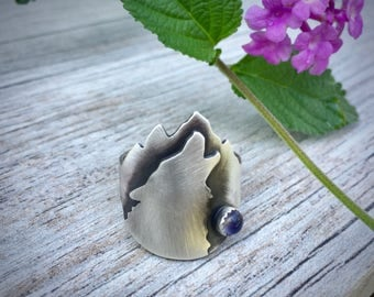 Wolf Ring Sterling Silver | Wolf Jewelry | Howling Wolf | Silver Wolf | Animal Jewelry