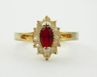 Vintage Ruby Marquise Halo Ring - Size 6 Ring - VRE006