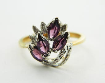 Vintage Amethyst CZ Marquise Cluster Ring - VPE203