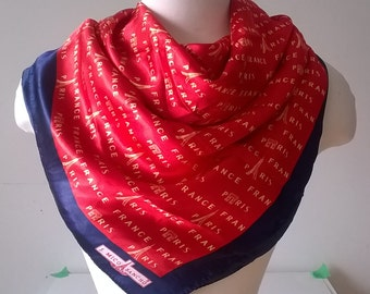 Large Mico Sancho Red Paris Scarf - Satin Scarves - Square  - Womens Accessories