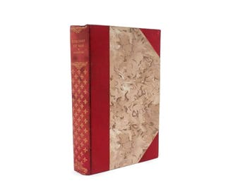 1900's Charles Darwin Book Descent of Man Red Leather Quarter Binding with Marbled Covers Antique Science Book