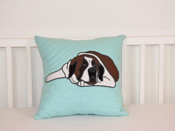 St. Bernard Pillow, Decorative Dog Cushion, Cute Animal Gift