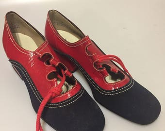 1970s Vintage Ladies Shoes PATRIOTIC Shoes RED Vinyl Blue Suede Shoes BICENTENNIAL Shoes Old Store Stock  Size 7 B