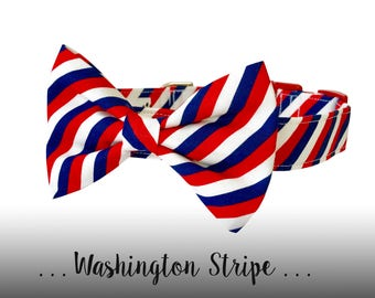 Red, White, and Blue Dog Collar and Bow Tie; Stripe Bow Tie Dog Collar: washington Stripe