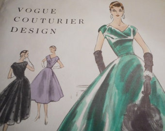 Vintage 1950's Vogue No. 868 Couturier Design Evening Dress Sewing Pattern Size 12 Bust 30
