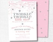 Twinkle Twinkle Little Star Birthday Party Invitation, Printable, Pink Star Invite, Pink, Silver, Confetti Stars, She's Grown So much, Girl