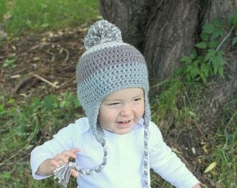 Little Boy Crochet Earflap Hat- Pom Pom Hat, Oatmeal, Brown, Gray Hat