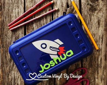 Personalized Pencil Box, Personalized Crayon Box, Rocket Ship, Rocket Ship School Supplies, Back To School, Plastic School Box, Party Favors