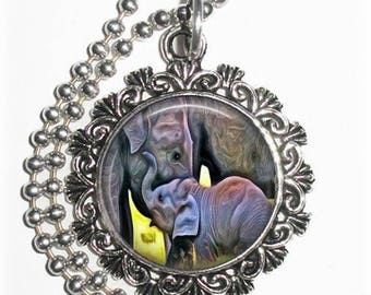 Elephant and Cub Art Pendant, Lucky Resin Pendant, Animal Photography Art, Photo Pendant Charm