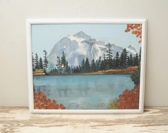 Original Painting Mountain Lake Autumn