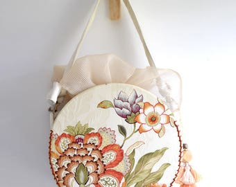 MISS O. Circle shaped top handle bag. Nature orange color flower and leave embroidery print handbag. Style153O. Ready to ship