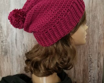 Slouchy Hat with Ribbed Brim - Berry