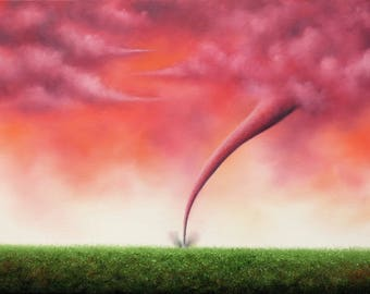Surreal Painting, Tornado Painting, Red Pink Purple Twister, Modern Art Stormscape, Stormy Sky Weather Art, ORIGINAL Art Oil Painting, 18x24