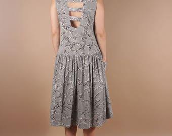 80s Vintage Grey Minimalist Giraffe Print Dress w Pockets | Avant Garde Drop Waist Summer Dress | Funky Tribal Abstract Dress