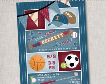 Sport Birthday Invitation - Baseball, Basketball, Lil Sport - Printable Digital File or Printed Invitations with Envelopes - FREE SHIPPING