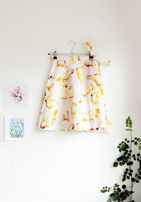 Cockie Wrap Around Skirt in Cotton Sateen. Cockatoo Skirt. Wrap Skirt. Mini Skirt. Aline Skirt. Flared Skirt. Festival Skirt. Fun Skirt.
