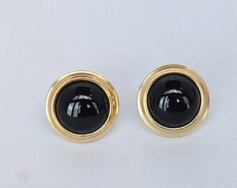 Classic Krementz Gold Filled Onyx Screwback Earrings
