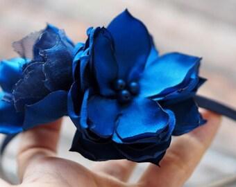Blue Headband, Adult Headband, Summer Headband, Blue Wedding Headband, Blue Hair Band, Vintage Style Headband, Blue Floral Headband