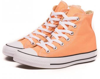 Peach Converse High Top Sunset Glow Apricot w/ Swarovski Crystal Bling Wedding Chuck Taylor All Star Bridal Girl Sneakers Shoes