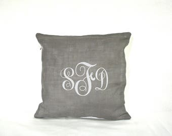 Personalized Embroidered Monogrammed Linen Pillow Cover