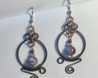 Copper and silver wire wrapped earrings