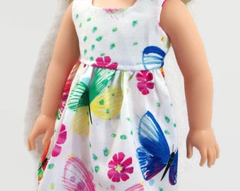 Colorful Butterfly Summer Party Dress - Made to Fit 14 Inch Dolls Like Wellie Wisher Doll Clothes