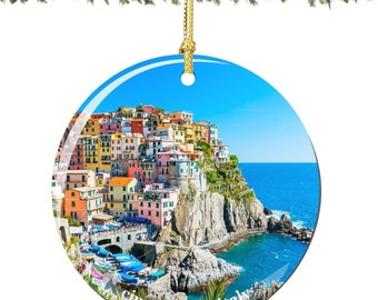 Italy Christmas Ornament of Cinque Terre, Porcelain 2.75 Inch Italian Christmas Ornaments