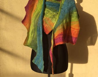 Hand knitted multicolor shawl