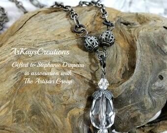 Swarovski Crystal Drop Necklace, Crystal Necklace, Swarovski Necklace, Briolette Pendant, Faceted Teardrop Necklace, Faceted Glass Necklace