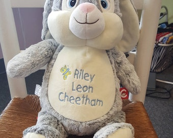 Monogrammed Cubbie - White Bunny or Brown Bunny or Grey Bunny
