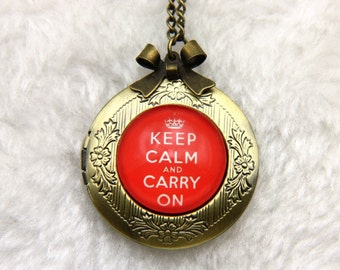 Necklace locket keep calm and carry on 2020m