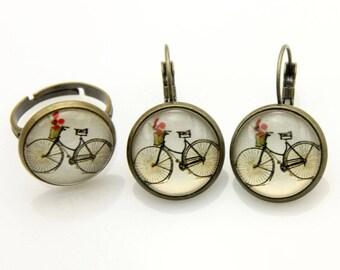 Parure Boucles d'oreilles et bague vélo 1616