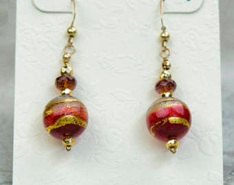 Multi Shade Red Murano Glass Earrings with Gold Foil and Garnets, Venetian Glass Ball Gem Earrings, Glass Drop Earrings, Colorful Earrings