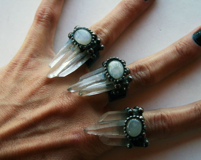 Quartz Trinity Crystal Moonstone Ring