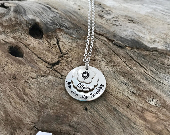 You are my Sunshine Necklace  My Sunshine Necklace  Sun Necklace  Stamped Necklace   Daughter Necklace   Mom Necklace   Personalized Jewelry