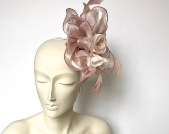 Dusty Pink Kentucky Derby Fascinator Derby Dusty Pink Easter Hat Dusty Pink Church Hat