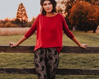 Hi-lo Boxy Sweater Ruby
