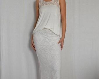 SALE Side Slit Lace Skirt White
