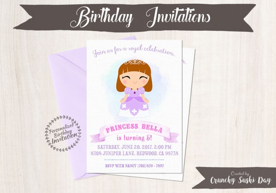 Princess Sofia Party Birthday Invitations Customizable, Princess, Girl Birthday Invitations, Princess Birthday, Printable, Sophia Party 055