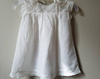 Vintage Girls White Cotton and Lace Day Dress- Size 12-18 Months- Handmade