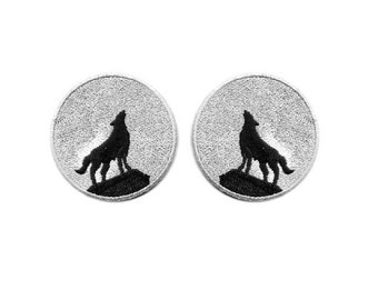 Wolf - Full Moon - Howling Wolf - Embroidered Iron On Patch - Set Of 2