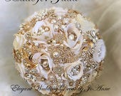 IVORY GOLD, Custom Ivory and Gold Bridal Brooch Bouquet, Gold Bouquet,Gold Bouquet, Brooch Bouquet, BALANCE for Jada Only
